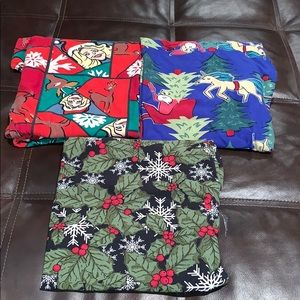 Set of 3 TC2 LuLaRoe Holiday Christmas Leggings